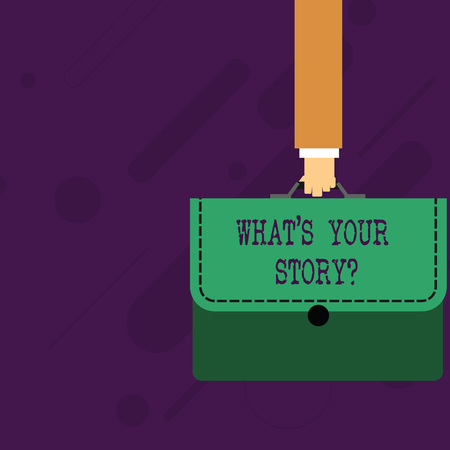 Word writing text What S Your Story Question. Business photo showcasing asking demonstrating about his past life actions career or events Businessman Hand Carrying Colorful Briefcase Portfolio with Stitch Applique Stock fotó