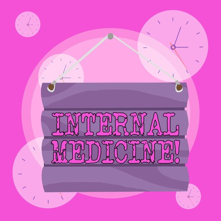 Conceptual hand writing showing Internal Medicine. Concept meaning dedicated to the diagnosis and medical treatment of adults Hook Up Blank Sign Plate Wooden Signboard with Lope for Hang Stock Photo - 124073218