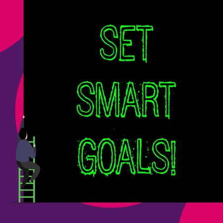 Handwriting text Set Smart Goals. Conceptual photo list to clarify your ideas focus efforts use time wisely Back view young man climbing up staircase ladder lying big blank rectangle