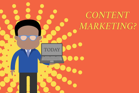 Writing note showing Content Marketing question. Business concept for involves creation and sharing of online material Standing man in suit wearing eyeglasses holding open laptop photo Art