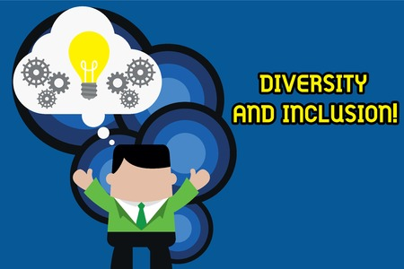 Text sign showing Diversity And Inclusion. Business photo text range huanalysis difference includes race ethnicity gender Standing man suit hands up imaginary bubble light bulb gears working together