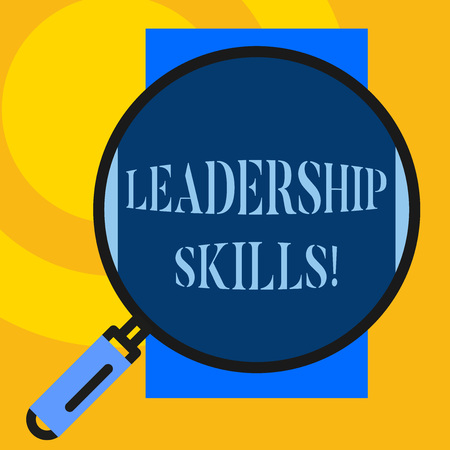 Text sign showing Leadership Skills. Business photo showcasing Skills and qualities that leaders possess Taking a lead Big magnifier glass looking vertical rectangle. Geometrical background Stock Photo