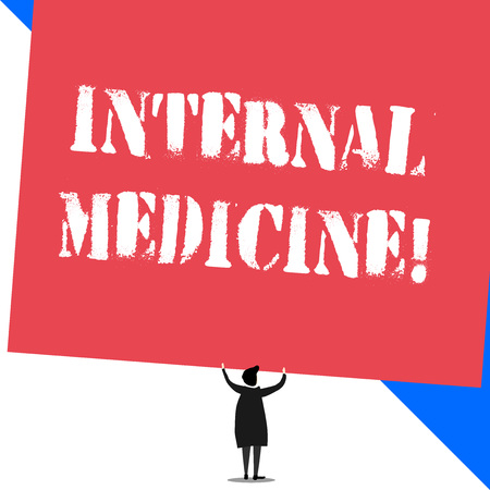 Conceptual hand writing showing Internal Medicine. Concept meaning dedicated to the diagnosis and medical treatment of adults Standing short hair woman dress hands up holding rectangle Stock Photo