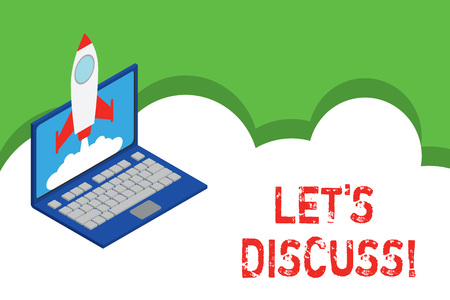 Text sign showing Let S Discuss. Business photo showcasing asking someone to talk about something with demonstrating or showing Rocket launching clouds laptop background. Startup project growing. SEO