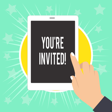 Writing note showing You Re Invited. Business concept for make a polite friendly request to someone go somewhere Female Hand with White Polished Nails Pointing Finger Tablet Screen Off