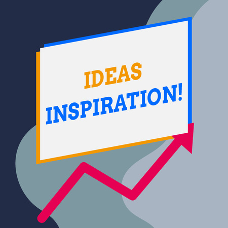 Handwriting text writing Ideas Inspiration. Conceptual photo feeling of enthusiasm you get from someone or something One blank rectangle above another arrow zigzag upwards increasing sale