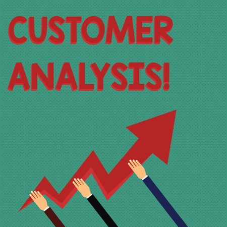 Conceptual hand writing showing Customer Analysis. Concept meaning systematic examination of a company s is customer information Hands Holding Zigzag Lightning Arrow Pointing and Going Up Stock Photo