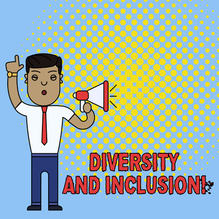 Conceptual hand writing showing Diversity And Inclusion. Concept meaning range huanalysis difference includes race ethnicity gender Man Standing with Raised Right Index Finger with Megaphone