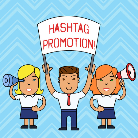 Writing note showing Hashtag Promotion. Business concept for more showing can discover and engage with your content People with Banner, Megaphone and Spy Glass Demonstration