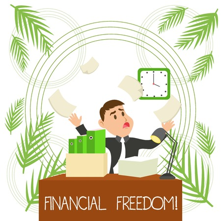 Conceptual hand writing showing Financial Freedom. Concept meaning make big life decisions without being stressed about money Male Manager Cluttered Workspace Overflow Time Shortage Stock Photo