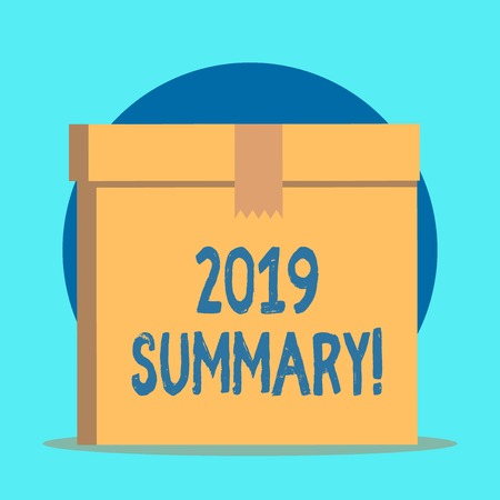 Writing note showing 2019 Summary. Business concept for summarizing past year events main actions or good shows Rectangular equal size hard carton cardboard with irregular zigzag tape