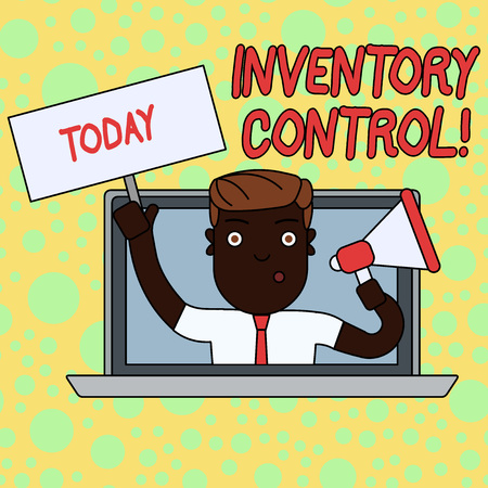 Writing note showing Inventory Control. Business concept for regulating and maximising your company s is inventory Man Speaking Through Laptop into Megaphone Plate with Handle Imagens