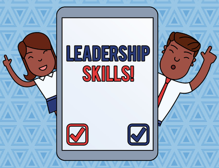 Handwriting text Leadership Skills. Conceptual photo Skills and qualities that leaders possess Taking a lead Male and Female Index Fingers Up Touch Screen Tablet Smartphone Device