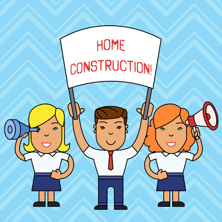 Writing note showing Home Construction. Business concept for the process of constructing a living accommodation People with Banner Megaphone and Spy Glass Demonstration