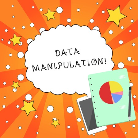 Writing note showing Data Manipulation. Business concept for the process of changing data to make it easier to read Layout Smartphone Off Ballpoint Notepad Business Pie Chart