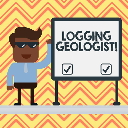 Word writing text Logging Geologist. Business photo showcasing Layout and execution of definition diamond drill programs Businessman Office Worker Sunglasses Blank Whiteboard Meeting Presentation Stock Photo