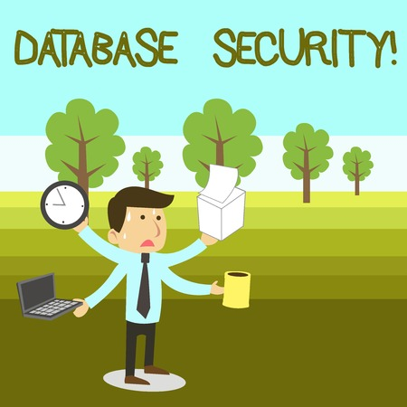 Text sign showing Database Security. Business photo text security controls to protect databases against compromises Stressed Out Male Employee Manager Many Armed Multitasking Meet Deadline