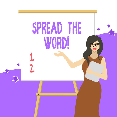 Handwriting text writing Spread The Word. Conceptual photo share the information or news using social media White Female in Glasses Standing by Blank Whiteboard on Stand Presentation