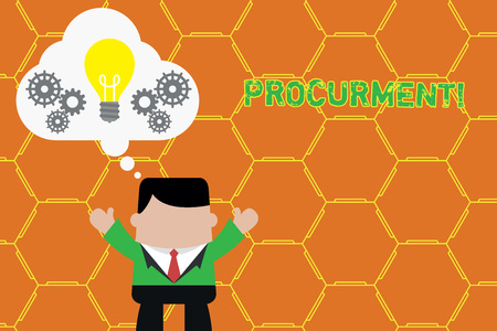 Word writing text Procurment. Business photo showcasing action of acquiring military equipment and supplies Standing man suit hands up imaginary bubble light bulb gears working together