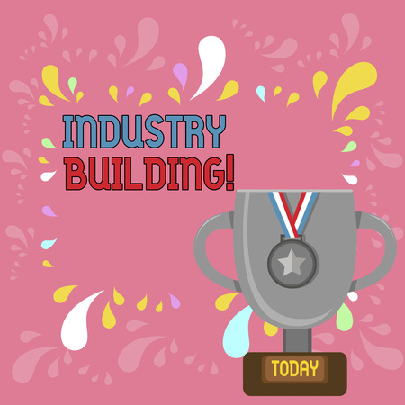 Word writing text Industry Building. Business photo showcasing Factories and other premises used for analysisufacturing Trophy Cup on Pedestal with Plaque Decorated by Medal with Striped Ribbon Archivio Fotografico