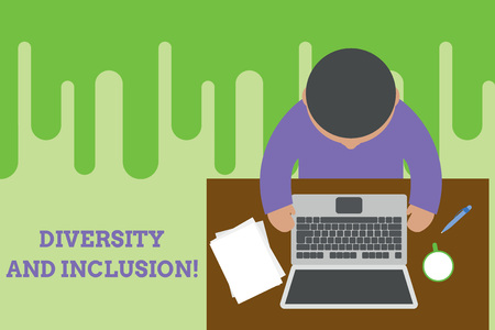 Conceptual hand writing showing Diversity And Inclusion. Concept meaning range huanalysis difference includes race ethnicity gender Upper view young man sitting table laptop documents coffee cup pen