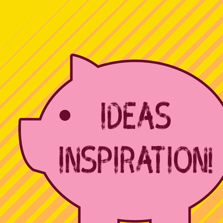 Writing note showing Ideas Inspiration. Business concept for feeling of enthusiasm you get from someone or something Fat huge pink pig plump like piggy bank with sharp ear and small eye