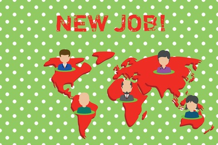 Handwriting text writing New Job. Conceptual photo recently having paid position of regular employment Connection multiethnic persons all over world. Global business earth map