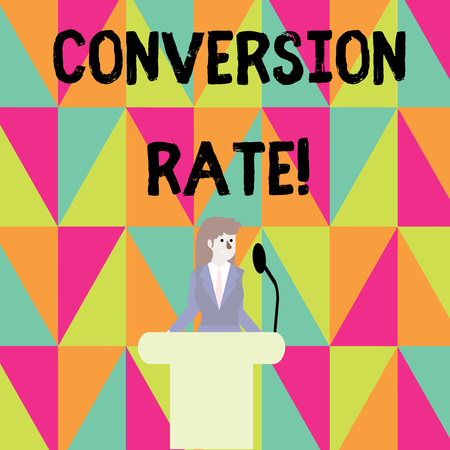 Word writing text Conversion Rate. Business photo showcasing number of visitors to a website that meet the desired goal Businesswoman Standing Behind Podium Rostrum Speaking on Wireless Microphone