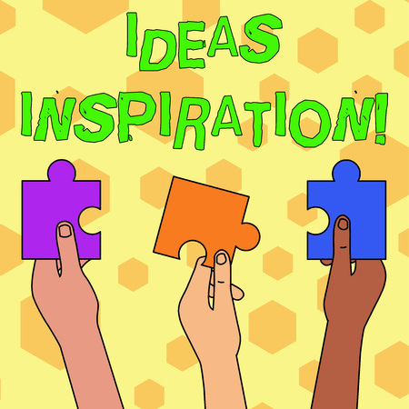 Word writing text Ideas Inspiration. Business photo showcasing feeling of enthusiasm you get from someone or something Three Colored Empty Jigsaw Puzzle Pieces Held in Different People Hands Stok Fotoğraf