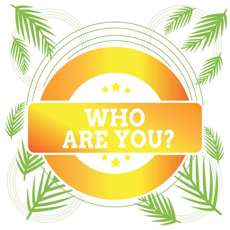 Wort schreiben Text wer bist du Frage. Geschäftsfoto mit der Frage nach der Identität von jemandem oder demonstrierenden Informationen Farbige runde Form Label Abzeichen Sterne leere rechteckige Textbox Award