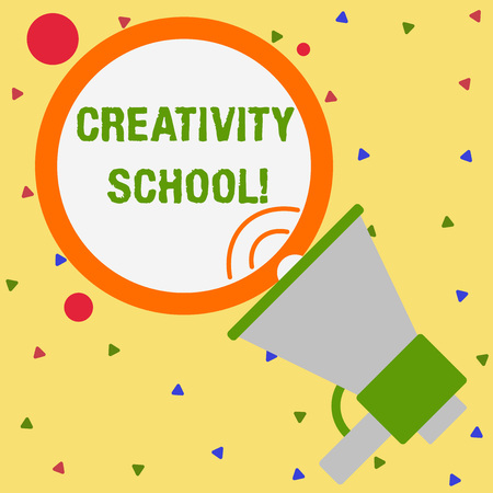 Conceptual hand writing showing Creativity School. Concept meaning students are able to use imagination and critical thinking Speaking Trumpet Round Stroked Speech Balloon Announcement