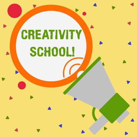 Konzeptionelle Handschrift zeigt Kreativitätsschule. Konzept bedeutet, dass die Schüler Fantasie und kritisches Denken verwenden können
