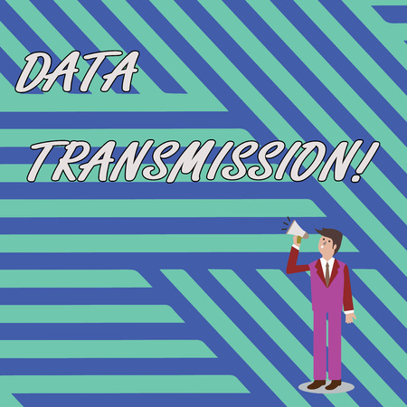 Word writing text Data Transmission. Business photo showcasing sending data electronically over a communications network Businessman Looking Up, Holding and Talking on Megaphone with Volume Icon Banque d'images