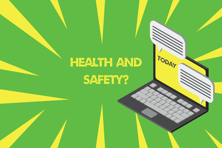 Handwriting text writing Health And Safety question. Conceptual photo regulations and procedures intended to prevent accident Laptop receiving sending information conversation texting internet wireless