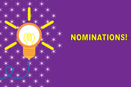 Writing note showing Nominations. Business concept for action of nominating or state being nominated for prize Idea light bulb Successful turning idea invention Startup