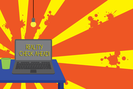 Conceptual hand writing showing Reality Check Ahead. Concept meaning makes them recognize truth about situations or difficulties Front view laptop lying on wooden desktop light bulb glass Stock Photo