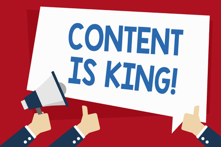 Word writing text Content Is King. Business photo showcasing marketing focused growing visibility non paid search results Hand Holding Megaphone and Other Two Gesturing Thumbs Up with Text Balloon