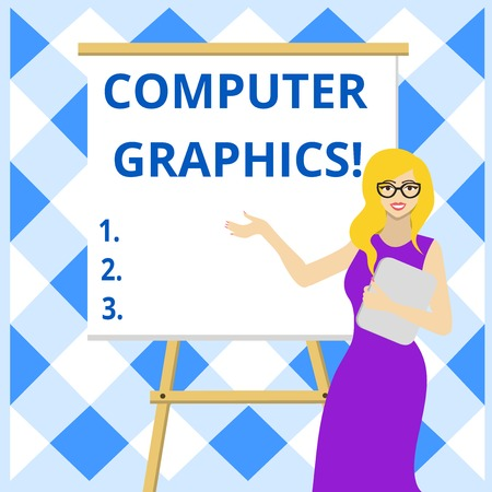 Conceptual hand writing showing Computer Graphics. Concept meaning visual representations of data displayed on a monitor Female in Glasses Standing Whiteboard on Stand Presentation
