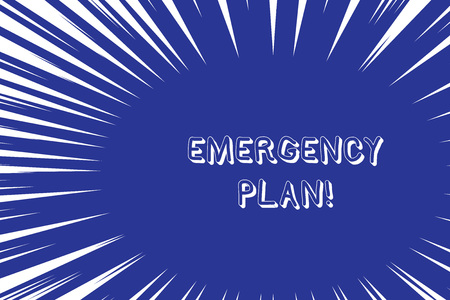 Conceptual hand writing showing Emergency Plan. Concept meaning actions developed to mitigate damage of potential events Abstract geometric deep design Simulating depth and stains