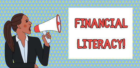 Word writing text Financial Literacy. Business photo showcasing Understand and knowledgeable on how money works Young Woman Jacket Ponytail Shouting into Loudhailer Rectangular Text Box Stockfoto