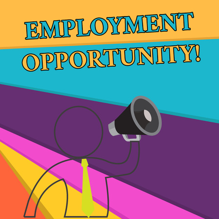 Handwriting text Employment Opportunity. Conceptual photo no Discrimination against Applicant Equal Policy Outline Symbol Man Loudspeaker Making Announcement Giving Instructions Banco de Imagens