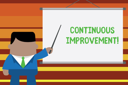 Word writing text Continuous Improvement. Business photo showcasing Ongoing Effort to Advance Never ending changes Businessman standing in front projector screen pointing project idea Stockfoto