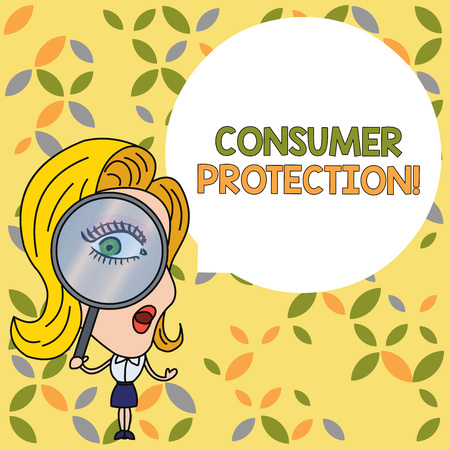 Handwriting text Consumer Protection. Conceptual photo Fair Trade Laws to ensure Consumers Rights Protection Woman Looking Trough Magnifying Glass Big Eye Blank Round Speech Bubble Stock Photo