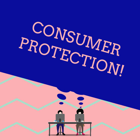 Word writing text Consumer Protection. Business photo showcasing Fair Trade Laws to ensure Consumers Rights Protection Man with purple trousers sit on chair talk to fellow near computer table Stock Photo
