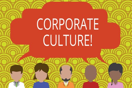 Conceptual hand writing showing Corporate Culture. Concept meaning Beliefs and ideas that a company has Shared values Five different persons sharing speech bubble People talking Imagens