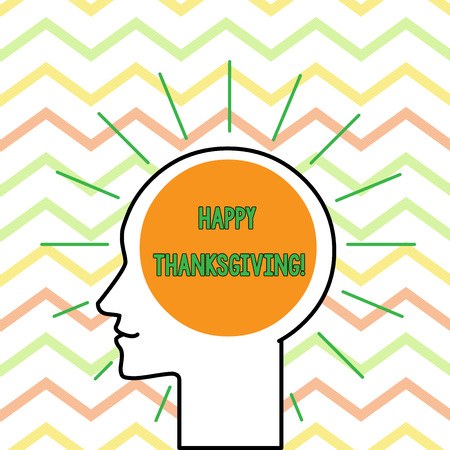 Conceptual hand writing showing Happy Thanksgiving. Concept meaning Harvest Festival National holiday celebrated in November Outline Silhouette Human Head Surrounded by Light Rays Blank