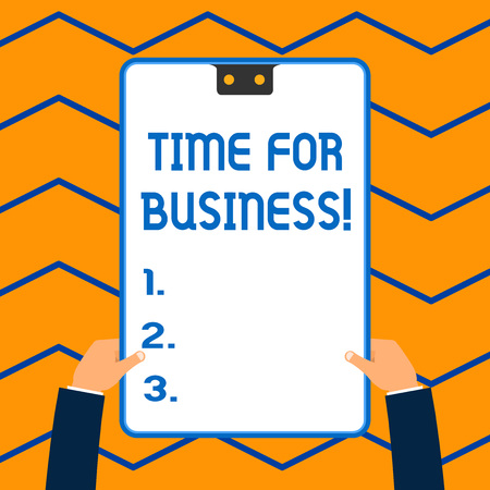 Word writing text time for business. Business photo showcasing product of interaction between organization and buyer White rectangle clipboard with blue frame has two holes holds by hands