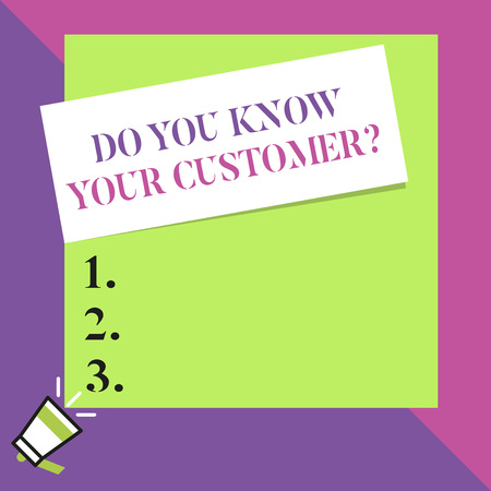 Text sign showing Do You Know Your Customer Question. Business photo text service identify clients with relevant information Big blank square rectangle stick above small megaphone left down corner