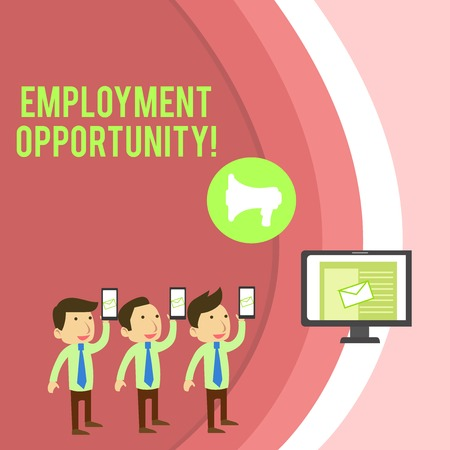 Conceptual hand writing showing Employment Opportunity. Concept meaning no Discrimination against Applicant Equal Policy SMS Email Marketing Media Audience Attraction PC Loudspeaker