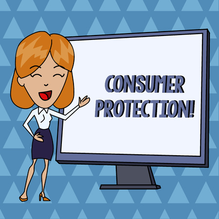 Text sign showing Consumer Protection. Business photo showcasing Fair Trade Laws to ensure Consumers Rights Protection White Female in Standing Pointing Blank Screen Whiteboard Presentation